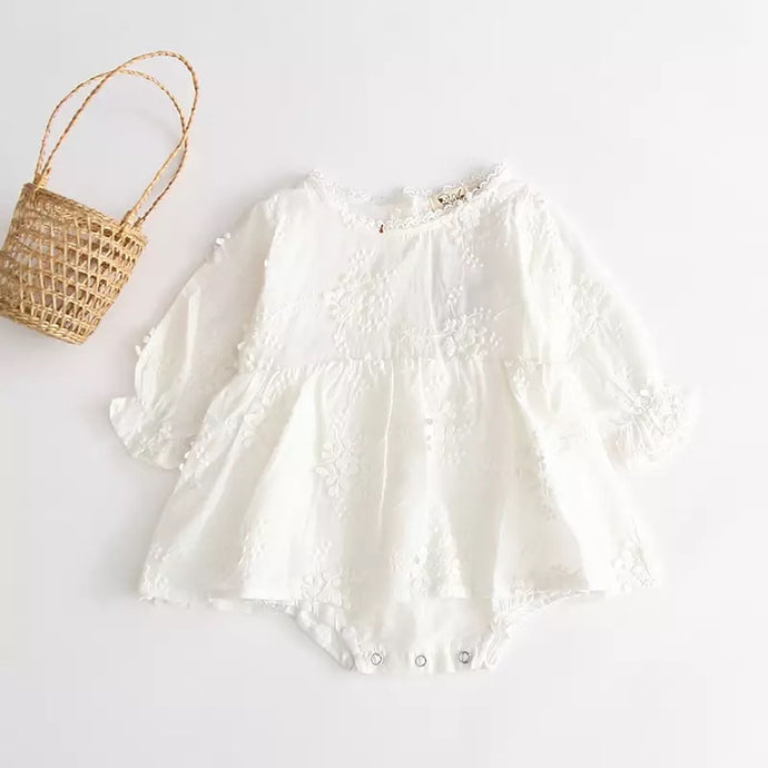 Maya Embroidered Linen Romper