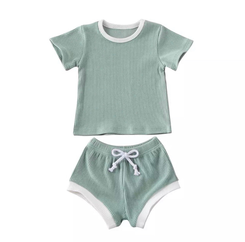 Ribbed Shorts Set Teal