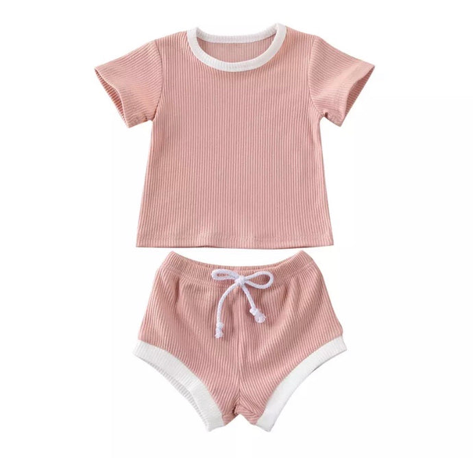 Ribbed Shorts Set Blush