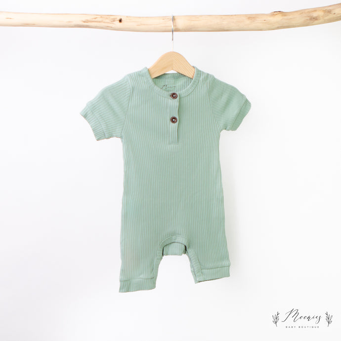 Ribbed Short Sleeve Romper Mint