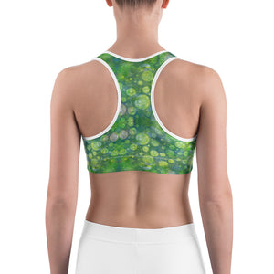 Green Abstract 1 Sports bra