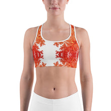 Load image into Gallery viewer, Orange Floral Sports bra
