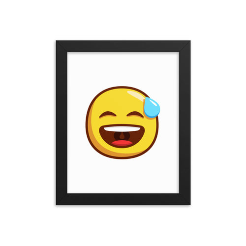 Smiling Face with Open Mouth and Cold Sweat Framed poster