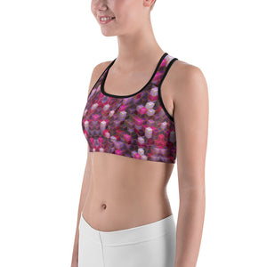 Pink Cube Abstract Sports bra