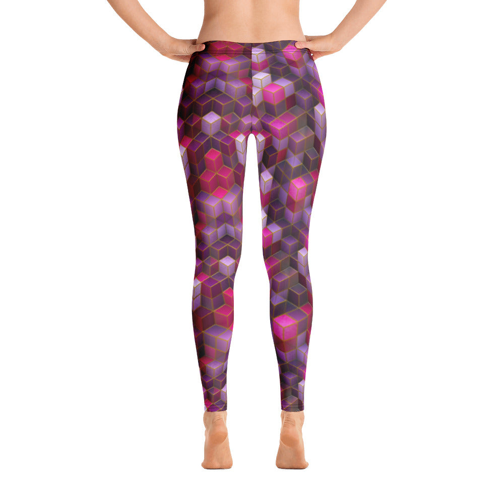 Pink Cube Abstract Leggings