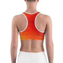 Load image into Gallery viewer, Orange Geometry Sports bra
