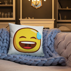 Smiling Face with Open Mouth and Cold Sweat Basic Pillow