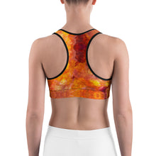Load image into Gallery viewer, Orange Pattern Sports bra