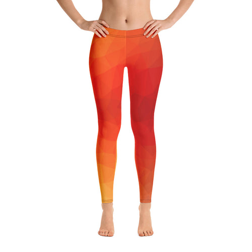 Orange Geometry Leggings