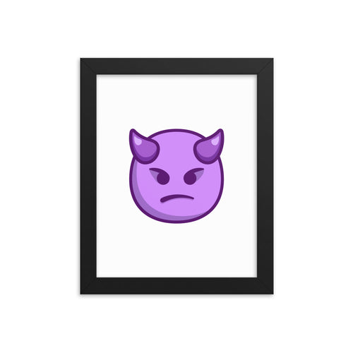 Angry Face with Horns Framed poster
