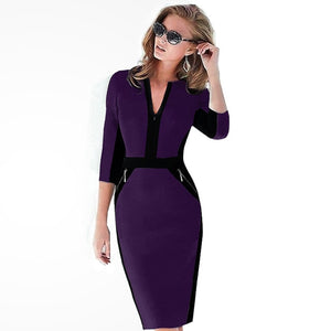 Front Zipper Women Work Wear Elegant Stretch Dress
