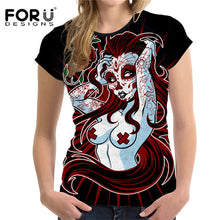 Load image into Gallery viewer, Punk 3D Skull Woman Slim T-shirt