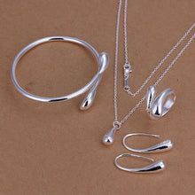 Load image into Gallery viewer, Fashion Wedding Bridal Jewelry Set Stamped Silver Water Drop for Women