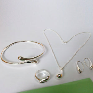 Fashion Wedding Bridal Jewelry Set Stamped Silver Water Drop for Women