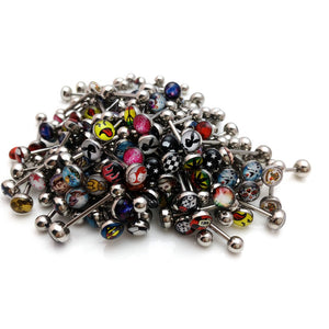 30 Pcs Stainless Steel Tongue Rings 20mm