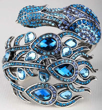 Load image into Gallery viewer, Peacock Bracelet Crystal Bangle Cuff