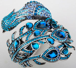 Peacock Bracelet Crystal Bangle Cuff