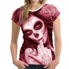 Load image into Gallery viewer, Vintage Dead Day Skull Print Women T Shirt Brand Short Sleeve