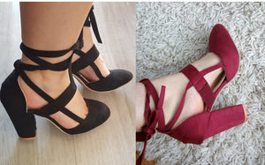 Female Ankle Strap High Heels Flock Gladiator Shoes
