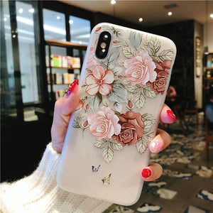 3D Relief Flower Leaves Case For iPhone