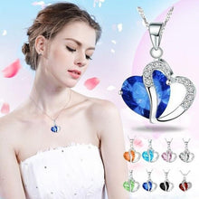 Load image into Gallery viewer, Heart Crystal Necklaces Rhinestone Silver Chain Pendant