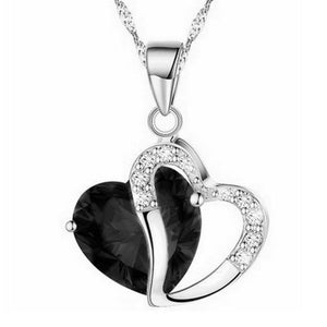 Heart Crystal Necklaces Rhinestone Silver Chain Pendant