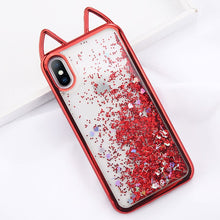 Load image into Gallery viewer, Cat Ears Bling Love Heart Powder Case For iPhone