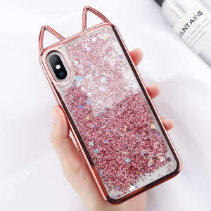 Cat Ears Bling Love Heart Powder Case For iPhone