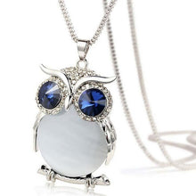 Load image into Gallery viewer, Women Owl Pendant Rhinestone Sweater Chain Long Necklace