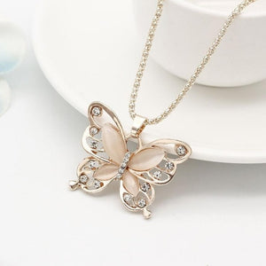 Rose Gold Opal Butterfly Pendant Exquisite Necklace
