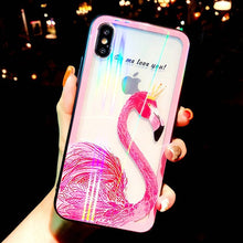 Load image into Gallery viewer, Glitter Laser Glass For iPhone Whale Flamingo