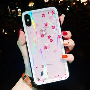 Glitter Laser Glass For iPhone Whale Flamingo