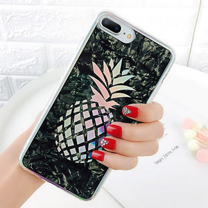 Glitter Laser Pineapple Back Cover For iPhone