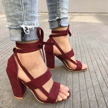 Load image into Gallery viewer, Female Ankle Strap High Heels Flock Gladiator Shoes