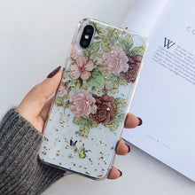 Load image into Gallery viewer, Glitter Gold Foil Lace Flower Phone Cases for iPhone