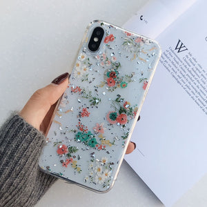 Glitter Gold Foil Lace Flower Phone Cases for iPhone