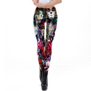 Dead Girl Skull Horrible Scary Fitness Women's Black Printed Legging