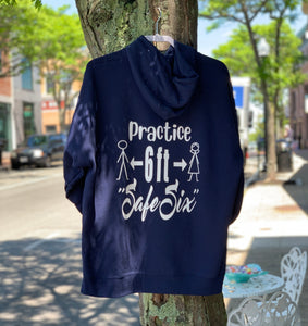 Practice Safe Six Social Distancing Quarantine Covid Hoodie Hooded Sweatshirt Hanging on Tree