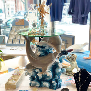 Dolphin Cove Ocean Wave Glass Top Table