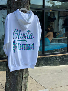 """Glosta Mermaid"" - Mermaid Print on White Hooded Sweatshirt"