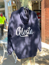 "Load image into Gallery viewer, ""Glosta"" - Navy Blue Zip Up Hooded Sweatshirt"