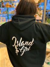 Load image into Gallery viewer, Island Girl with Mermaid Black Hoodie Hooded Sweatshirt