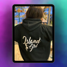 Load image into Gallery viewer, Island Girl with Mermaid Black Hoodie Hooded Sweatshirt on iPad