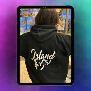 Island Girl with Mermaid Black Hoodie Hooded Sweatshirt on iPad