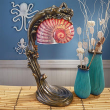 Load image into Gallery viewer, Mermaid and Shell Illuminated Bronze Table Lamp