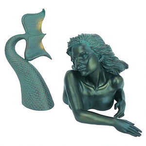 Two-Piece Swimming Mermaid Statue
