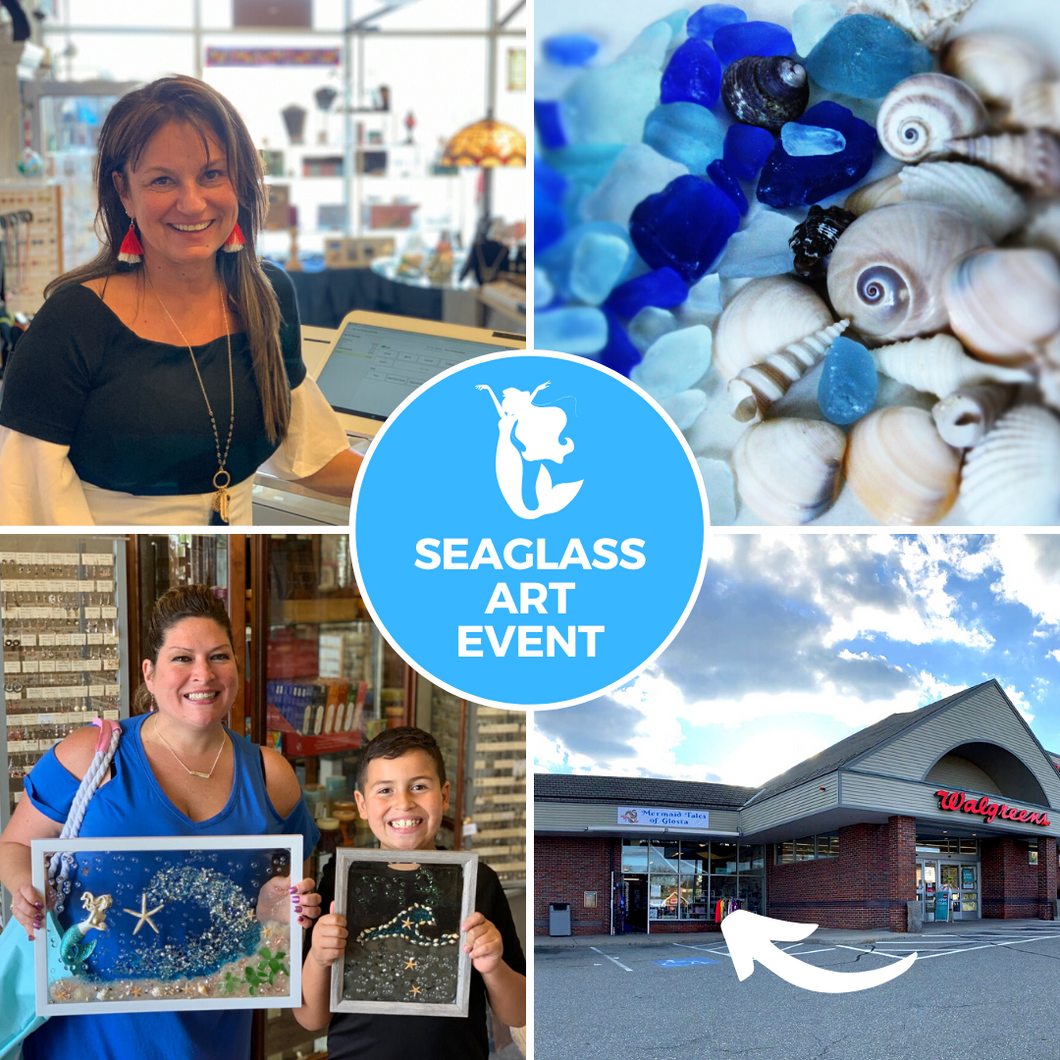 Sea Glass Art Image Showing Store Owner, Sea Glass, Outside of Store Location (next to Walgreens) and Past Participants with their Art!