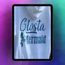 "Load image into Gallery viewer, ""Glosta Mermaid"" - Mermaid Print on White Hooded Sweatshirt"