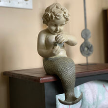 Load image into Gallery viewer, Little Merman with Oyster Pearl Statue