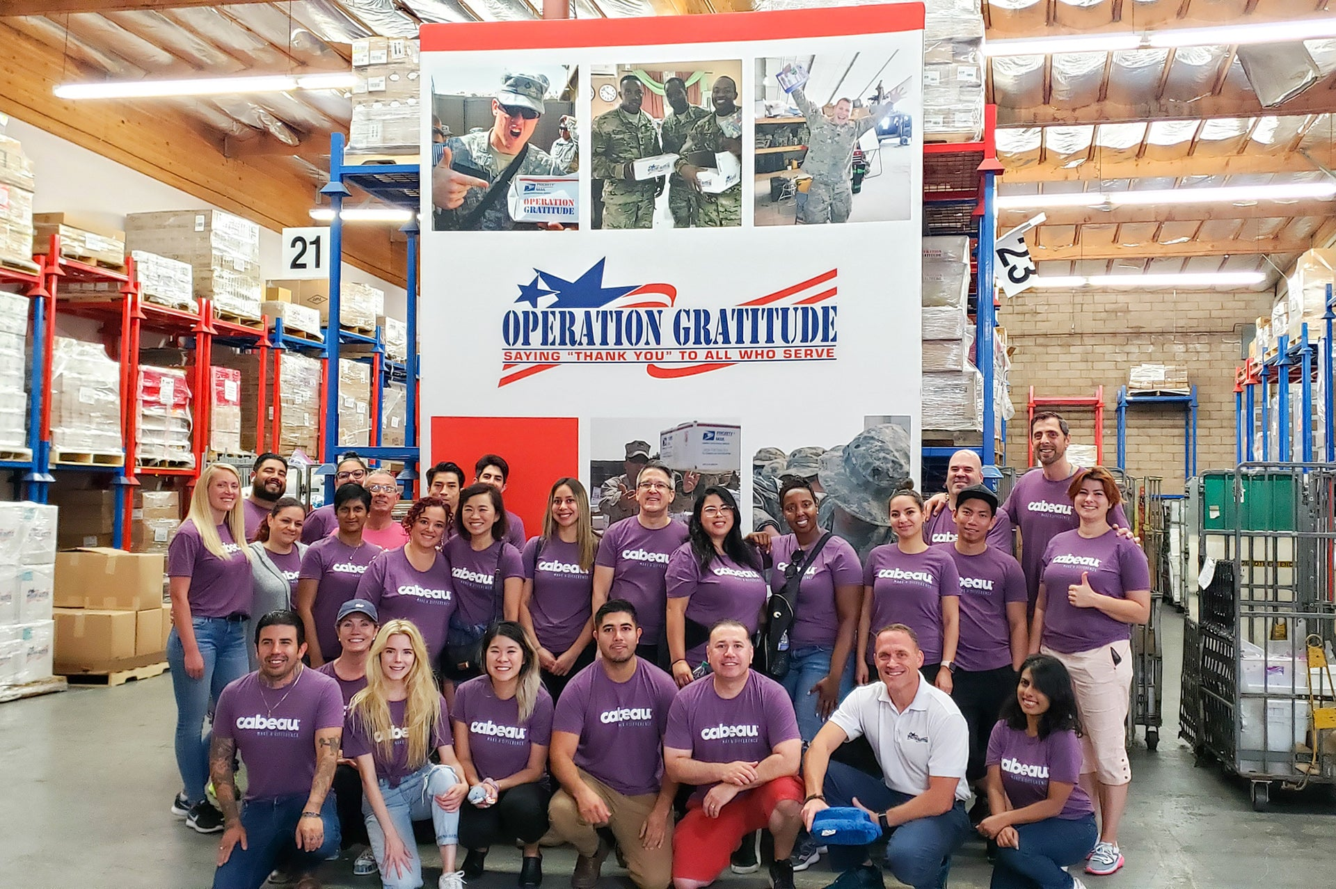 Cabeau Team photo at Operation Gratitude